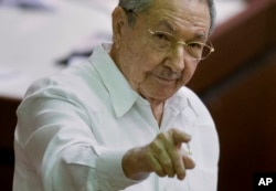 FILE - Raul Castro leads Cuba, which seeks removal from U.S. list of terrorists.