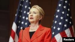美国国务卿克林顿7月24日在华盛顿发表演讲