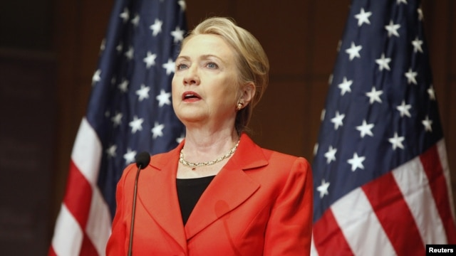 U.S. Secretary of State Hillary Clinton delivers the keynote address in Washington, July 24, 2012.