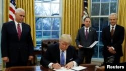 纳瓦罗(右)2017年1月26日在白宫出席一个签字仪式(路透社)