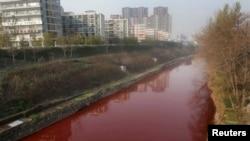 2011年12月13日河南洛阳涧河被污染的呈血红色的河水。