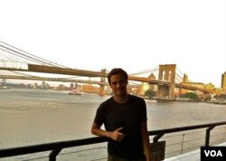 Jose Navarro taking a break from his studies in New York City.