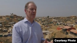 FILE - Andrew Gilmour, U.N. Assistant Secretary-General for Human Rights, visits Rohingya camp in Bangladesh.