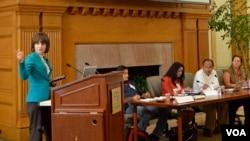 Yulia Savchenko speaking at Stanford
