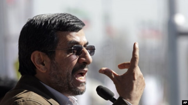 Iranian President Mahmoud Ahmadinejad gestures as he deliver his speech at a rally to mark the 33rd anniversary of the Islamic Revolution, Tehran, Feb. 11, 2012.