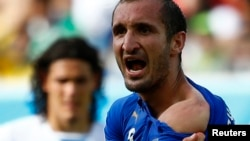 Italy's Giorgio Chiellini shows his shoulder, claiming he was bitten by Uruguay's Luis Suarez, during their 2014 World Cup Group D soccer match at the Dunas arena in Natal June 24, 2014.