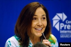 FILE - Mariela Castro, a lawmaker and director of the Cuban National Centre for Sex Education (CENESEX), National Assembly member and daughter of Cuba's President Raul Castro, speaks during a news conference in Havana, Cuba, May 3, 2017.