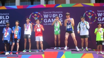 Cambodian athlete Thay Sokunthim won a gold medal for the 200-meter run in Special Olympic World Games in Los Angeles, United States from July 25th until August 2nd 2015. (Courtesy photo of Cambodian Special Olympic Delegation)