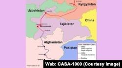 د قرغیزستان، تاجکستان، افغانستان او پاکستان ترمنځ د کاسا ١٠٠٠ منصوبې نقشه