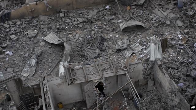 Văn phòng của Thủ tướng Hamas Ismail Haniyeh ở Thành phố Gaza bị Israel oanh kích, ngày 17/11/2012