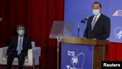 美国卫生部长阿扎尔在台北的台湾大学发表演讲。(2020年8月11日)