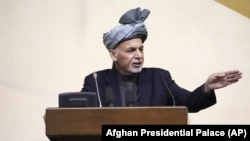 President Ashraf Ghani speaks during a joint meeting of the National Assembly in Kabul, April 25, 2016.