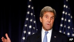FILE - Secretary of State John Kerry speaks in New York.