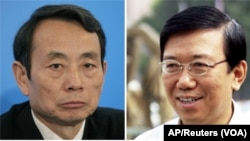 原中石油集团总经理蒋洁敏(左)和原四川省委副书记李春城2015年10月12日被湖北省汉江中院法庭判犯有腐败罪。