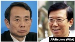 ທ່ານ Jiang Jiemin, ຊ້າຍ, ອະດີດປະທານນໍ້າມັນແຫ່ງຊາດຈີນ ແລະ ທ່ານ Li Chuncheng, ຂວາ, ອະດິດຮອງຫົວໜ້າພັກ ແຂວງ ພາກຕາເວັນຕົກສຽງໃຕ້ Sichuan, ທັງສອງໄດຖືກຈັບ ໃນຖານສໍ້ລາດບັງຫລວງ
