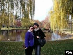 Charlotte Bonami [right] and Sydney Larose [left] stand in Boston's Public Garden over Thanksgiving Break. Photo courtesy of Charlotte Bonami.