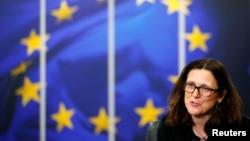 Tư liệu - Trưởng phụ trách chính sách thương mại EU Cecilia Malmstrom tại Ủy hội Châu Âu ở Brussels, Bỉ