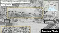 Imágenes de satélite muestran piezas de artillería rusa dentro de Ucrania.