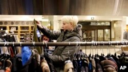 A woman shops at a Nordstrom store in Chicago, Jan. 10, 2013.