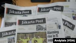"Koran berbahasa Inggris ""The Jakarta Post"" (Foto:VOA/Andylala). Dewan Pers menyesalkan penetapan status tersangka Pemimpin Redaksi ""The Jakarta Post"" Medyatama Suryodiningrat oleh Kepolisian daerah Metro Jaya."