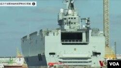 圖為俄羅斯定製的西北風級直升機兩棲攻擊艦的第一艘已經接近完工。