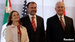 Canadian Foreign Minister Chrystia Freeland, Mexican Foreign Minister Luis Videgaray and U.S. Secretary of State Rex Tillerson. (Feb. 2, 2018)