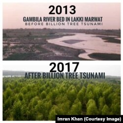 Pictures of a river bank before and after the Billion Tree Tsunami campaign.