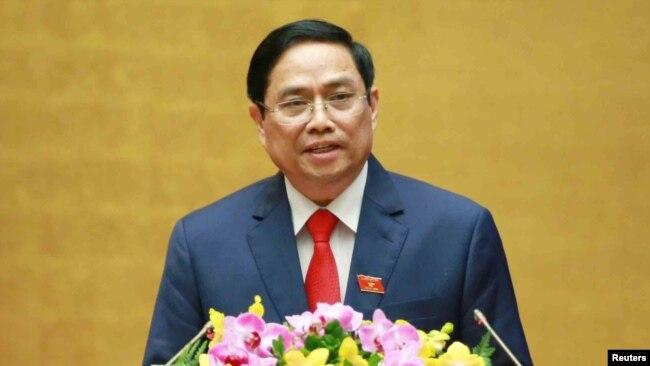 Tân Thủ tướng Phạm Minh Chính phát biểu ngày 5/4/2021. Photo VNA via Reuters.