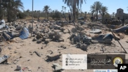 This picture released online by the Sabratha Municipal Council on Feb. 19, 2016, shows the site where U.S. warplanes struck an Islamic State training camp in Sabratha, Libya near the Tunisian border. (Sabratha Municipal Council via AP)