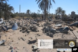 This picture released online by the Sabratha Municipal Council on Feb.19, 2016, shows the site where U.S. warplanes struck an Islamic State training camp in Sabratha, Libya near the Tunisian border.