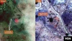 Lembaga 'Satellite Sentinal Project' menunjukkan gambar-gambar satelit yang diduga sebagai kuburan massal di Kordofan, Sudan selatan (24/8).