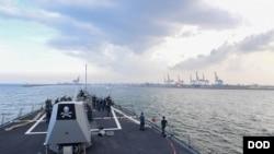 美國伯克級導彈驅逐艦紀德號抵達印度外海,準備參加2017年馬拉巴爾軍演