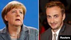 Thủ tướng Đức Angela Merkel (trái) và diễn viên hài Boehmermann (phải).