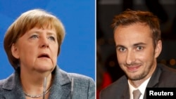 A combination of pictures shows German Chancellor Angela Merkel as she gives a statement on Turkey's request to seek prosecution of German comedian Jan Boehmermann (R) who read out a sexually crude poem about Turkish President Tayyip Erdogan on German television, at the Chancellery in Berlin, Germany April 15, 2016, and a file picture of Boehmermann during a TV show of Markus Lanz in Hamburg on February 10, 2013.