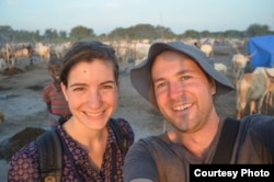 Australian newlyweds Matthew and Emily Albert visited a Dinka cattle camp during their honeymoon in South Sudan.