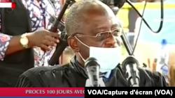 Le juge Raphael Yanyi Ovungu président le procès de Vital Kamerhe au CPRK à Kinshasa, RDC, 25 mai 2020.