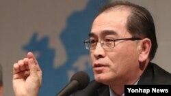 태영호 전 영국 주재 북한 공사가 9일 한국프레스센터에서 열린 국가안보전략연구원 주최 국제회의에서 발언하고 있다.