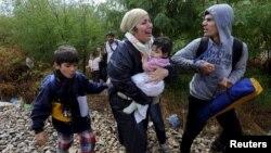 Di dân vừa khóc vừa đi bộ về hướng Gevgelija ở Macedonia sau khi vượt qua biên giới Hy Lạp, ngày 22/8/2015.
