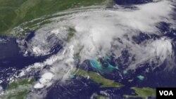 Satellite photo of Tropical Storm Debby at 1246 UTC Jun 25, 2012 (NOAA photo)