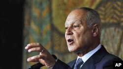 Egyptian FM Ahmed Aboul Gheit speaks during a news-conference in Sofia, 08 Dec 2010