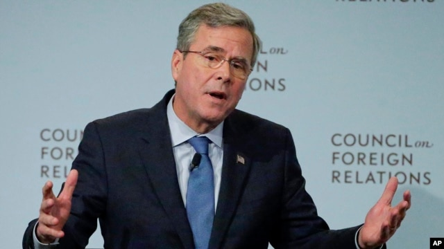 Former Florida Gov. Jeb Bush, a candidate for the 2016 Republican presidential nomination, speaks at the Council on Foreign Relations in New York, Jan. 19, 2016.