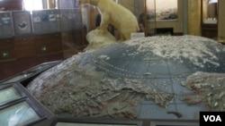 俄羅斯北極博物館中的模型顯示了從亞洲白令海峽和楚克奇海出發的北極航道。