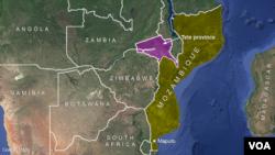 Bản đồ khu vực tỉnh Tete, Mozambique.