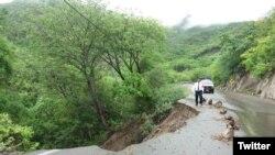 Daños provocados por la tormenta tropical Calvin en San Antonio Monterrey, Salina Cruz, México. Foto: Comisionado PE José Sánchez Saldierna.