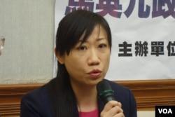 台灣新聞記者協會會長陳曉宜(美國之音張佩芝拍攝)