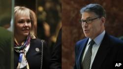 ຈາກຊ້າຍ ທ່ານນາງ Mary Fallin ອະດີດຜູ້ປົກຄອງລັດ Oklahoma ແລະທ່ານ Rick Perry ອະດີດຜູ້ປົຄອງລັດ Texas ມາເຖິງຕຶກ Trump Tower ທີ່ນະຄອນ New York.