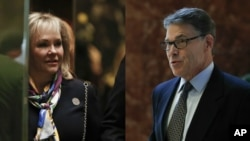 From left, Oklahoma Gov. Mary Fallin and former Texas Gov. Rick Perry arrive at Trump Tower in New York, Nov. 21, 2016.