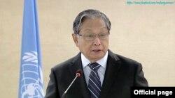 ျပည္ေထာင္စု၀န္ႀကီး ဦးေက်ာ္တင့္ေဆြက ကုလသမဂၢလူ႔အခြင့္အေရးေကာင္စီ ညီလာခံ မွာ မိန္႔ခြန္းေျပာ (Ministry of Foreign Affairs Myanmar)
