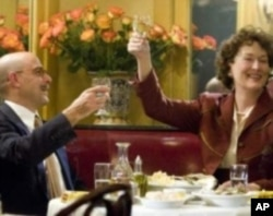 """Meryl Streep and Stanley Tucci score Best Love Story 50 and over for their performances in """"Julie & Julia""""."""