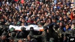 Người Palestine để tang lãnh đạo Hamas Nour el-Deen Barakas, bị giết trong chiến dịch càn quét của Israel hôm 11/11/18